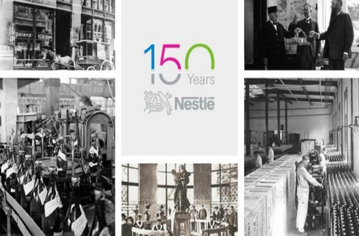 I marchi di acqua in bottiglia per i 150 anni di Nestlè