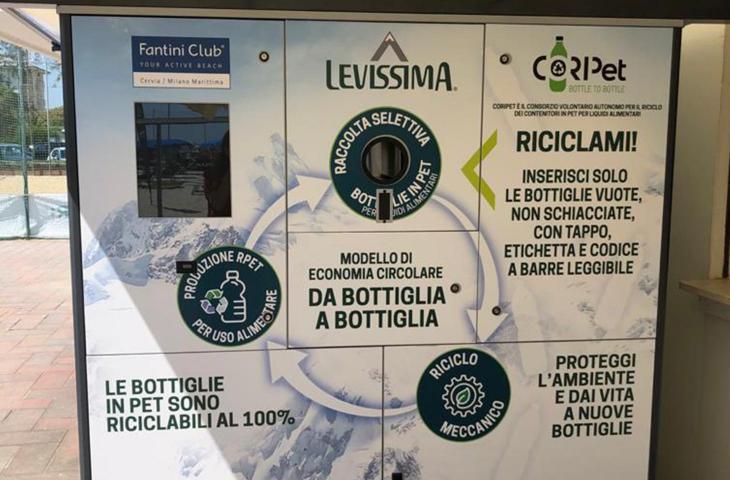 Levissima Regeneration: inaugurato nuovo eco-compattatore Coripet presso il Fantini Club di Cervia