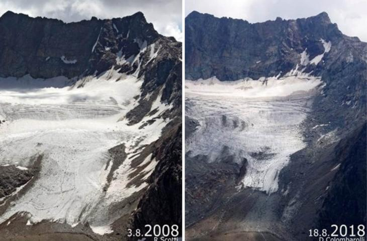 #TenYearsChallenge dei ghiacciai in Valtellina – In a Bottle